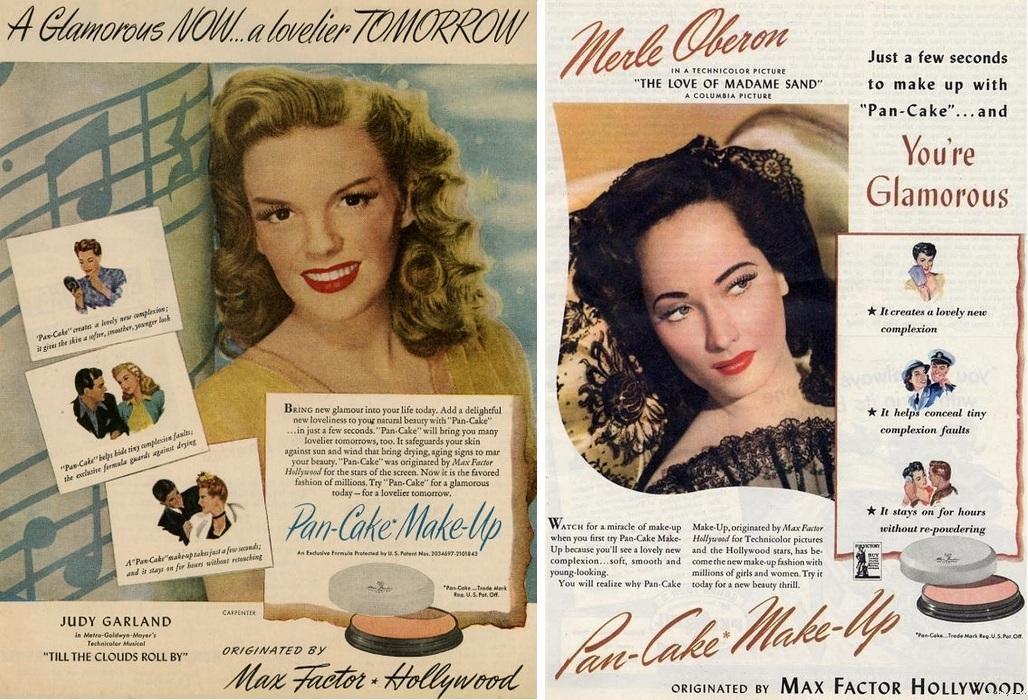 Мерл Оберон и Джуди Гарленд рекламируют косметику Max Factor